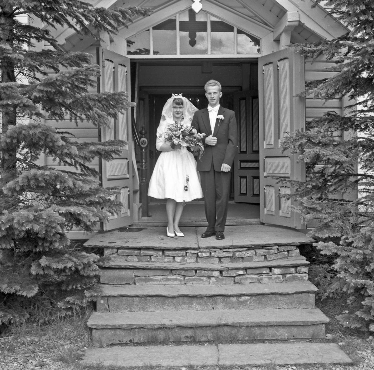 Portrett bryllup, brudeparet på trappen og utvalg av gjestene - bestiller Olav Matre