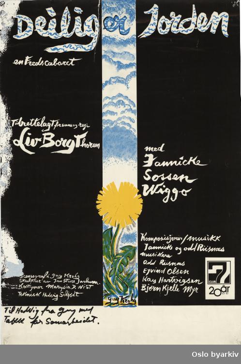 Plakat for forestillingen Deilig er jorden som ble framført i 1983 på Parkteateret i Oslo...Oslo byarkiv har ikke rettigheter til denne plakaten. Ved bruk/bestilling ta kontakt med Nordic Black Theatre (post@nordicblacktheatre.no)