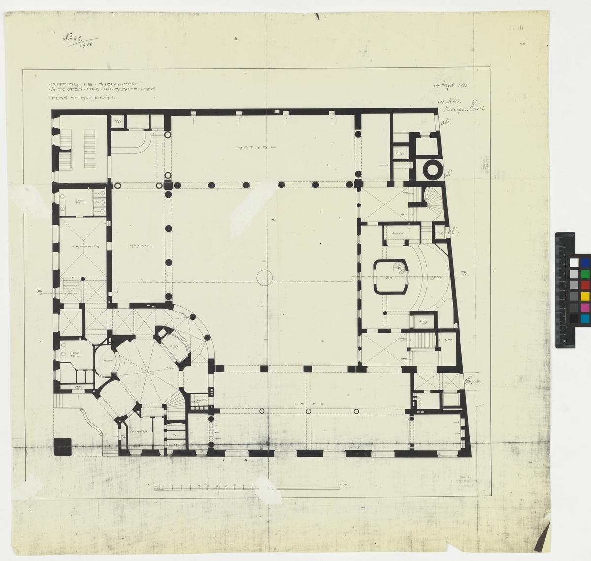 Ritning till nybyggnad å tomten no 19 Kv. Blasieholmen Plan af bottenvån