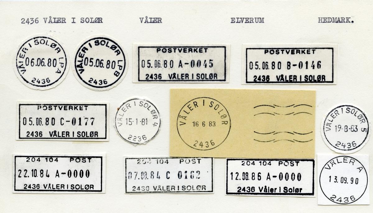 Stempelkatalog  2290 Våler i Solør, Våler kommune, Hedmark