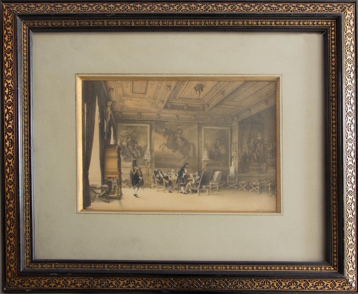 Trycket visar en interör, konselj-rummet på Gripsholms slott. I bilden finns personer avbildade iförda 1600-tals dräkter.