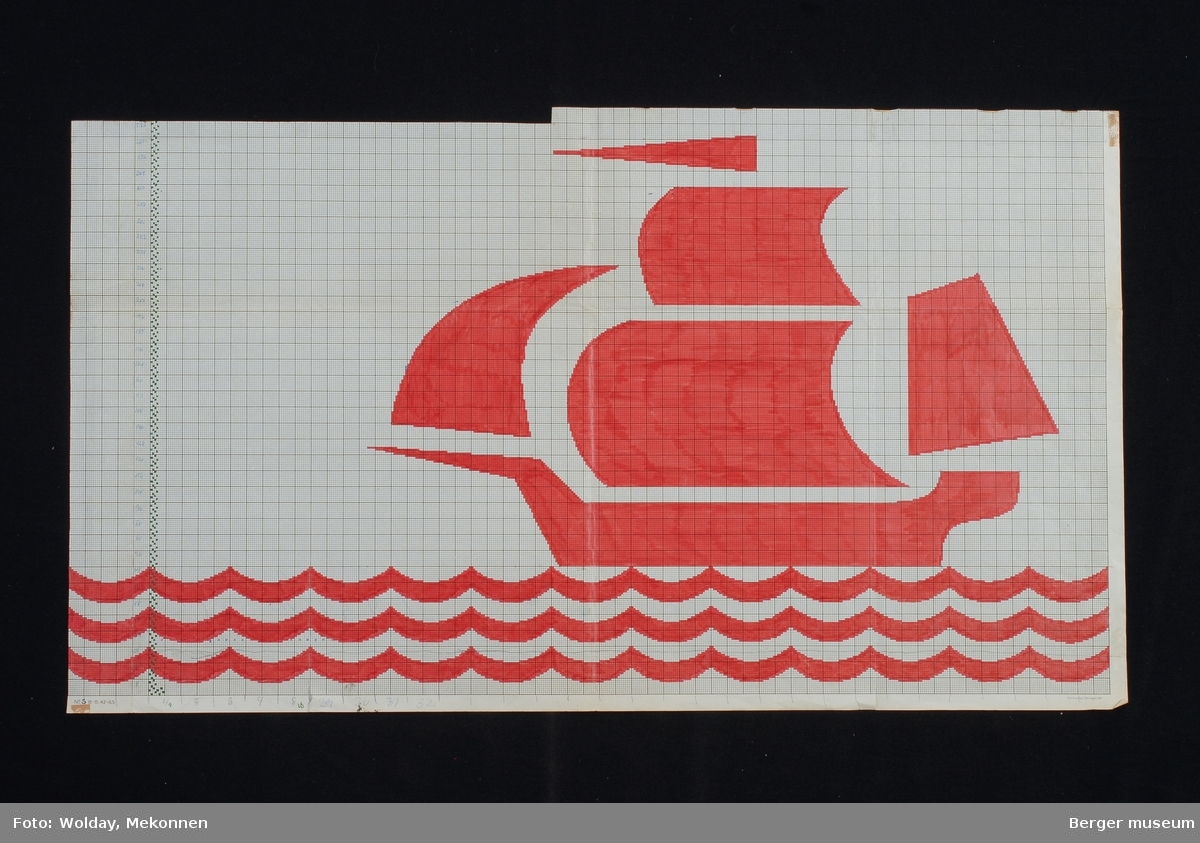 Skip, båt med bølger.