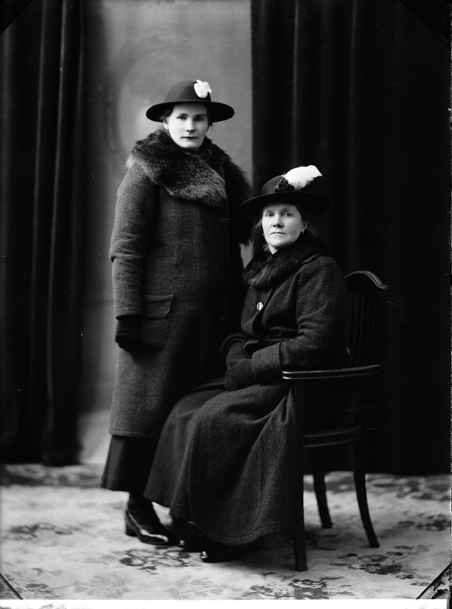 Nylén Anna fröken, två kvinnor i ytterkläder