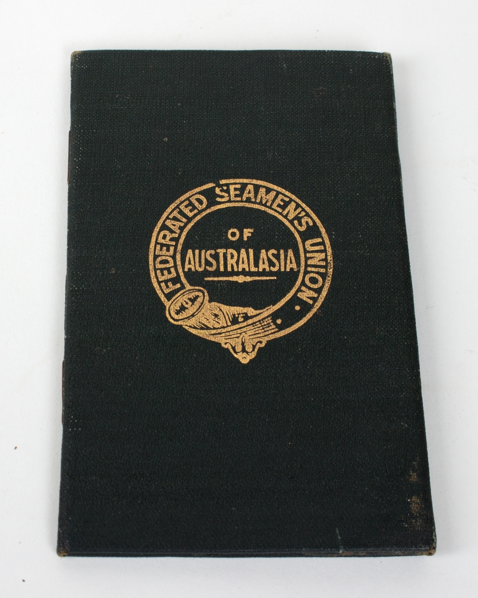"Medlemmshefte for ""Federated Seamens Unions of Australia""."