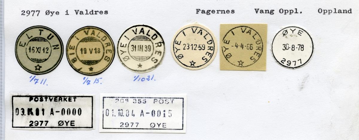 Stempelkatalog  2977 Øye , Vang kommune, Oppland (Eltun 1.7.11)
