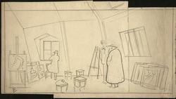 Kunstnere i atelier, Christian Krohg [illustrasjon]