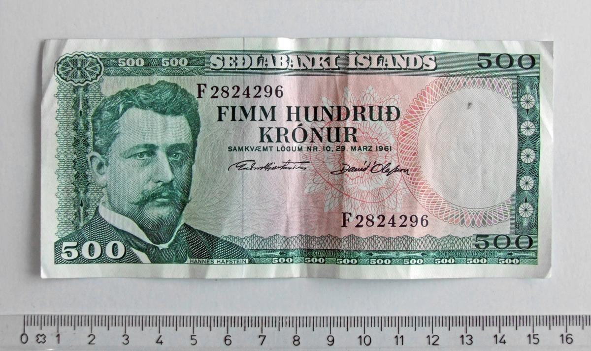 500 Krónur,  ISLAND,  1961.  Form:  Rektangulær