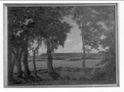 """Landskapsbild från dala gård mot plantabergen. """"till kamrate"""