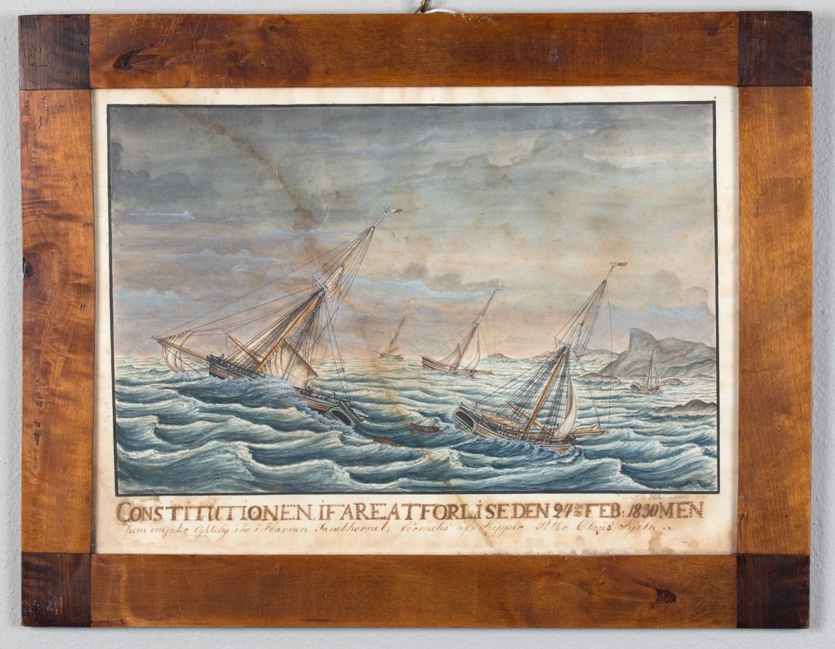 Jakten CONSTITUTIONEN i uvær under fulle seil, nær ved å forlise. Fem andre skip i nærheten.