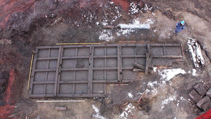 Kjølhalingspram funnet under undersøkelsene på Operatomta, trolig fra 1700-tallet.