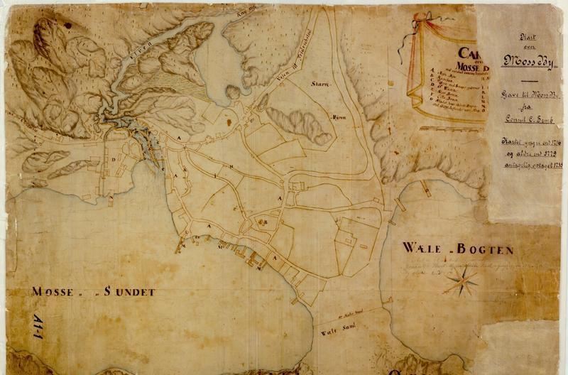Brunt kart over Moss slik det så ut under Den store nordiske krigen. (Foto/Photo)
