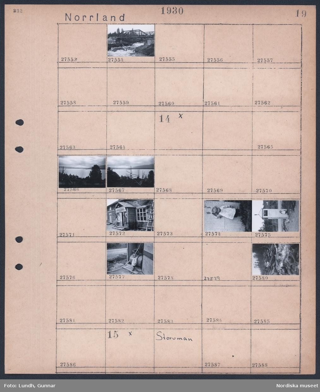 """Motiv: Norrland, Slussfors, Gardikforsen; En träbro över en fors.  Motiv: Norrland, (ingen anteckning) Landskapsvy med sjö och skog, hus med skylt """"Diversehandel"""", porträtt av barn,  Motiv: Norrland, Storuman; Ej kopierat;"""