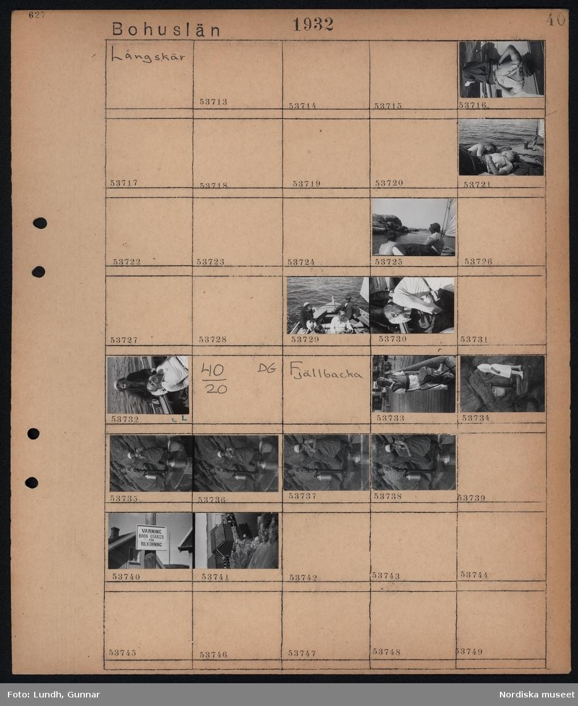 """Motiv: Bohuslän, Långskär; En kvinna och en man ligger på däcket på en båt, en kvinna och två män i en segelbåt.  Motiv: Bohuslän, Fjällbacka; En pojke står på en brygga, en kvinna pumpar vatten i en hink med en trädgårdspump, en skylt """"Varning Bron osäker för bilkörning"""", vy över hamn med fiskebodar."""