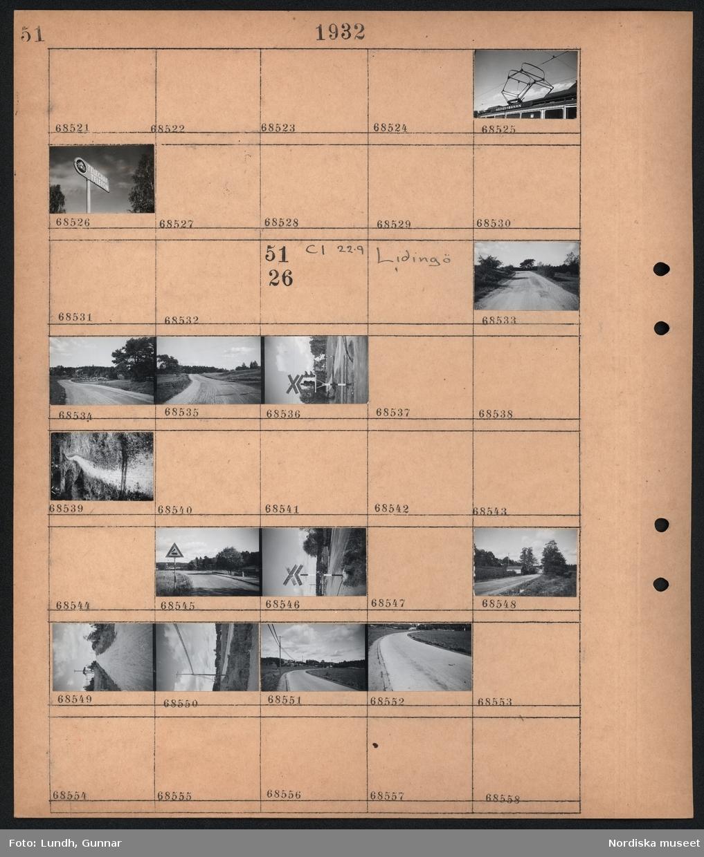 """Motiv: Nockeby; Detalj av spårvagn med skylt """"Nockebybanan"""", skylt """"Telegraf Telefon"""".  Motiv: Lidingö; Landskapsvy med väg, järnvägsövergång med ljus och skylt """"Varning för tåg flera spår"""", landskapsvy med stig, varningsskylt med ånglok, järnvägsövergång med skylt """"Varning för tåg flera spår"""", landskapsvy med väg och bebyggelse samt elstolpar."""