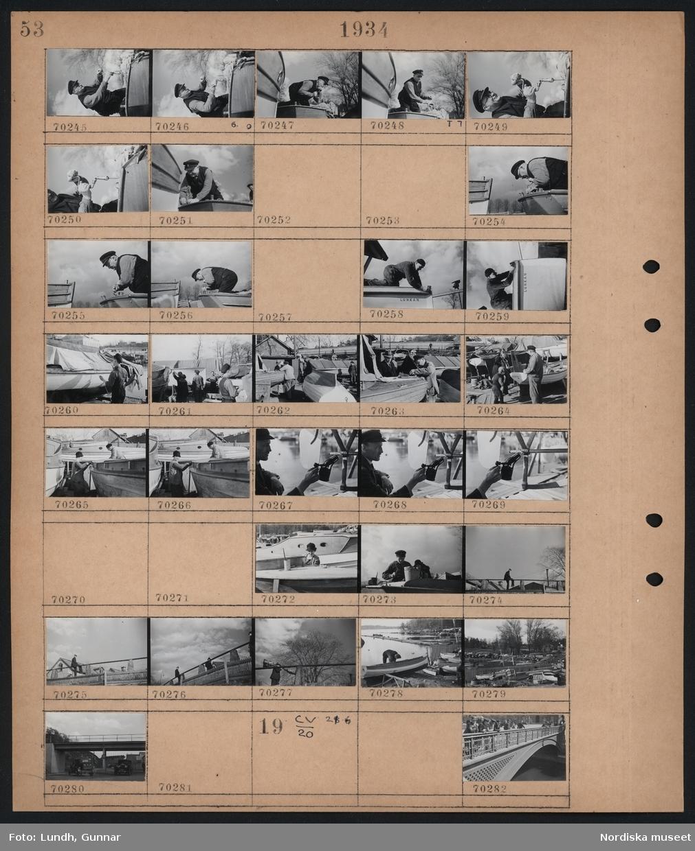 """Motiv: Brunnsviken; En man borrar i en båt, en man slipar på en båt """"Lunkan"""", människor arbetar på upplagda båtar, en man sitter på ett räcke, vy över hamn med upplagda båt, bilar under en bro.  Motiv: (ingen anteckning) ; Människor står på en bro."""