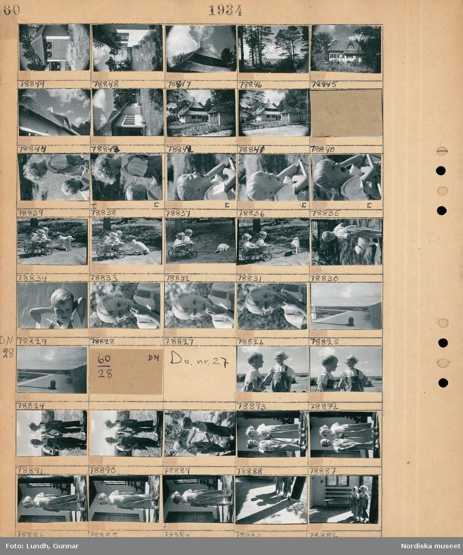 Motiv: Strandbaden, Bertofts barn; Exteriör av garage, exteriör av hus, detalj av vasstak, porträtt av två barn, två barn sitter i en kärra och en hund sitter bredvid, vy över en pir.  Motiv: Strandbaden, Bertofts barn; Porträtt av två barn.