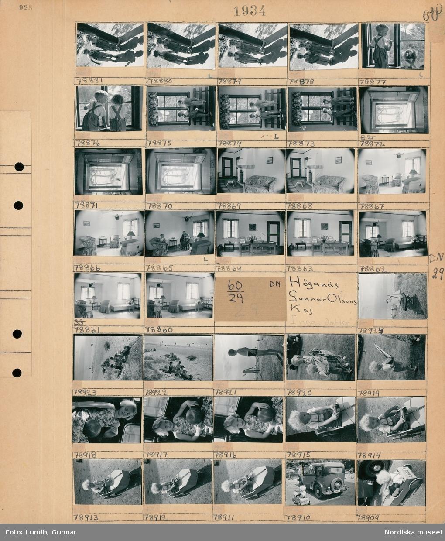 Motiv: Strandbaden, Bertofts barn; Porträtt av två barn, två barn vid ett fönster, interiör med öppen spis och soffa, interiör med två barn och en kvinna, interiör med en soffgrupp och en säng.  Motiv: Höganäs, Gunnar Olsons kaj; Ett barn bär på en modellbåt, människor solar och badar på en badstrand, porträtt av ett barn som sitter i en bil med en boll, porträtt av ett barn som sitter i en leksaksbil, ett barn sitter i en leksaksbil bredvid en bil.
