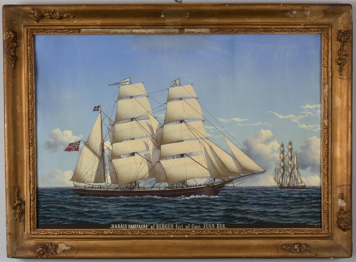 Skipsportrett av bark HARALD HAARFAGRE under fulle seil. Samme skip sees aktenfra.  Fører unionsflagg i mesanmasten samt vimpel med kjenningssignal X142 på fortoppen.