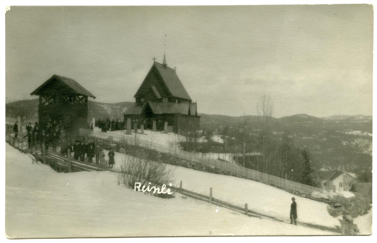 Reinli stavkyrkje. Postkort.