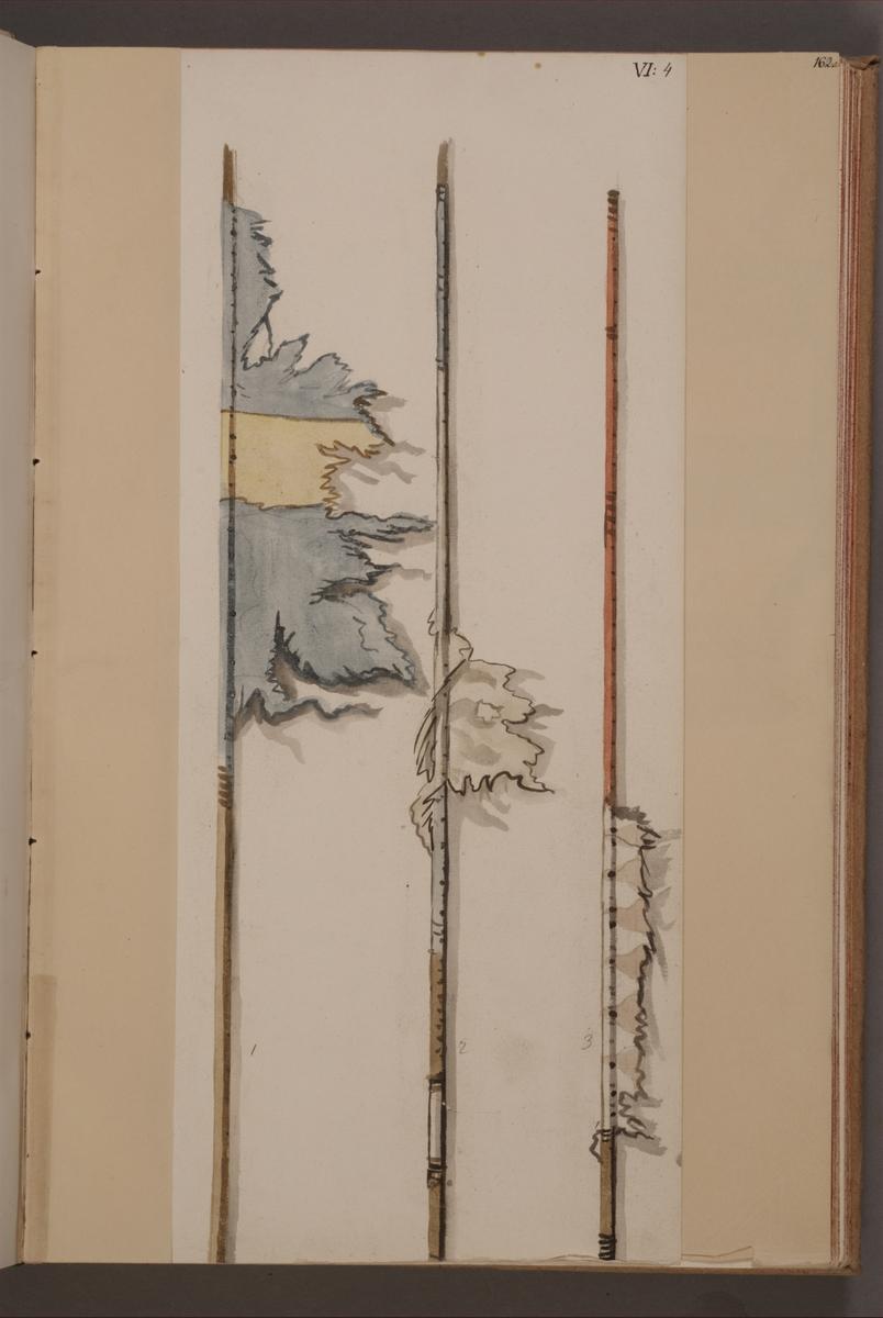 Avbildning i gouache föreställande fälttecken tagna som troféer av svenska armén. Fanan längst till höger i bild finns bevarad i Armémuseums samling, för mer information, se relaterade objekt.