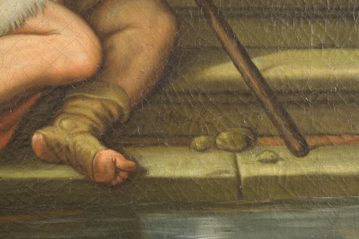 Jesus omringet av en rekke syke mennesker ved Betesda dam. Sentralt i bildet en halvnaken mann som reiser seg fra liggende stilling og støtter seg på høyre arm. Han ser opp på Kristus som står i en avslappet kontrapoststilling, og skiller seg fra de øvrige personene i motivet ved stråleglorien. Scenen er lagt til et gårdsrom eller lignende med basseng to trinn forsenket. Forgrunnen skilles fra bakgrunnen i bildet ved en portikus med arkader som løper parallelt med billedplanet. I bakgrunnen ser vi blant annet en pyramide (lignende Cestiuspyramiden i Roma, men noe spissere), samt en kuppelbygning. Fargene i bildet er klare, og vel avgrenset.