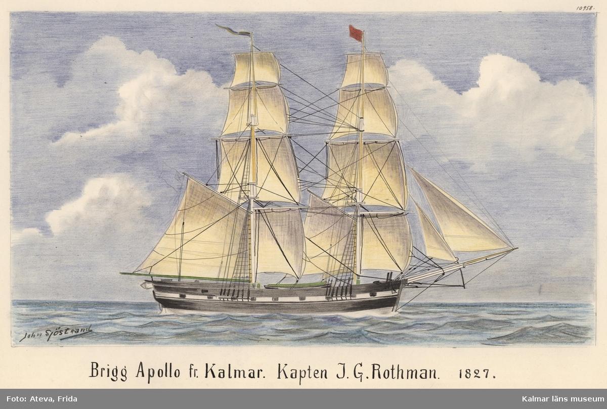Briggen Apollo från Kalmar, skeppsporträtt med himmel och hav.