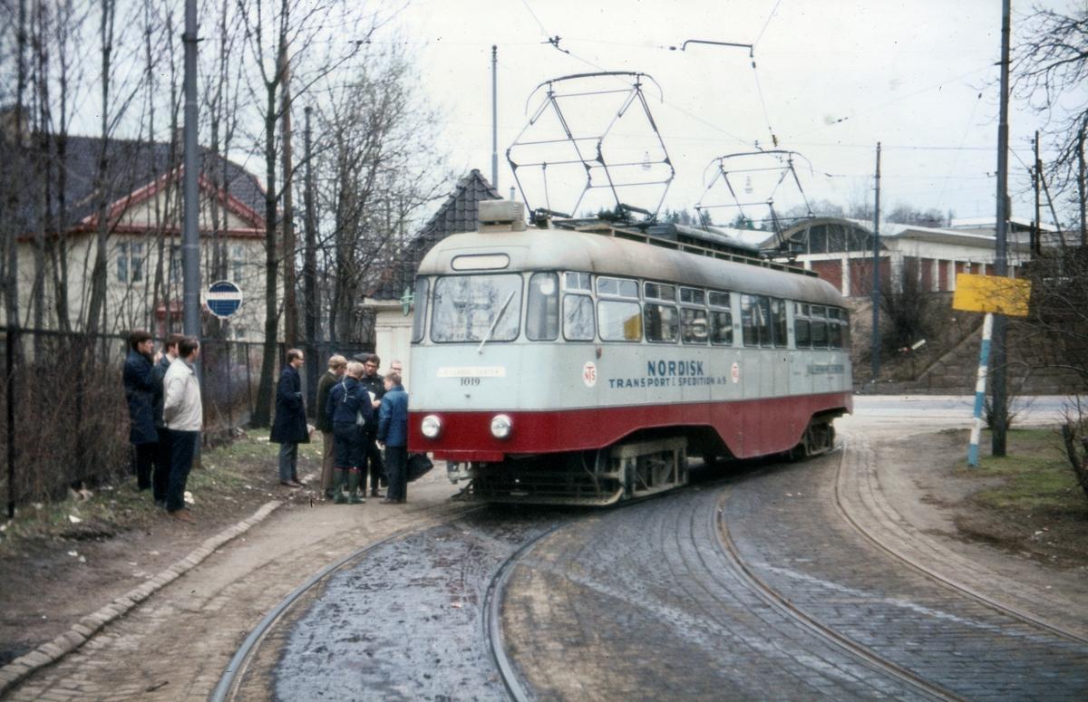 Ekebergbanens vogn 1019 som den første Ekebergbanetrikk på Skøyen