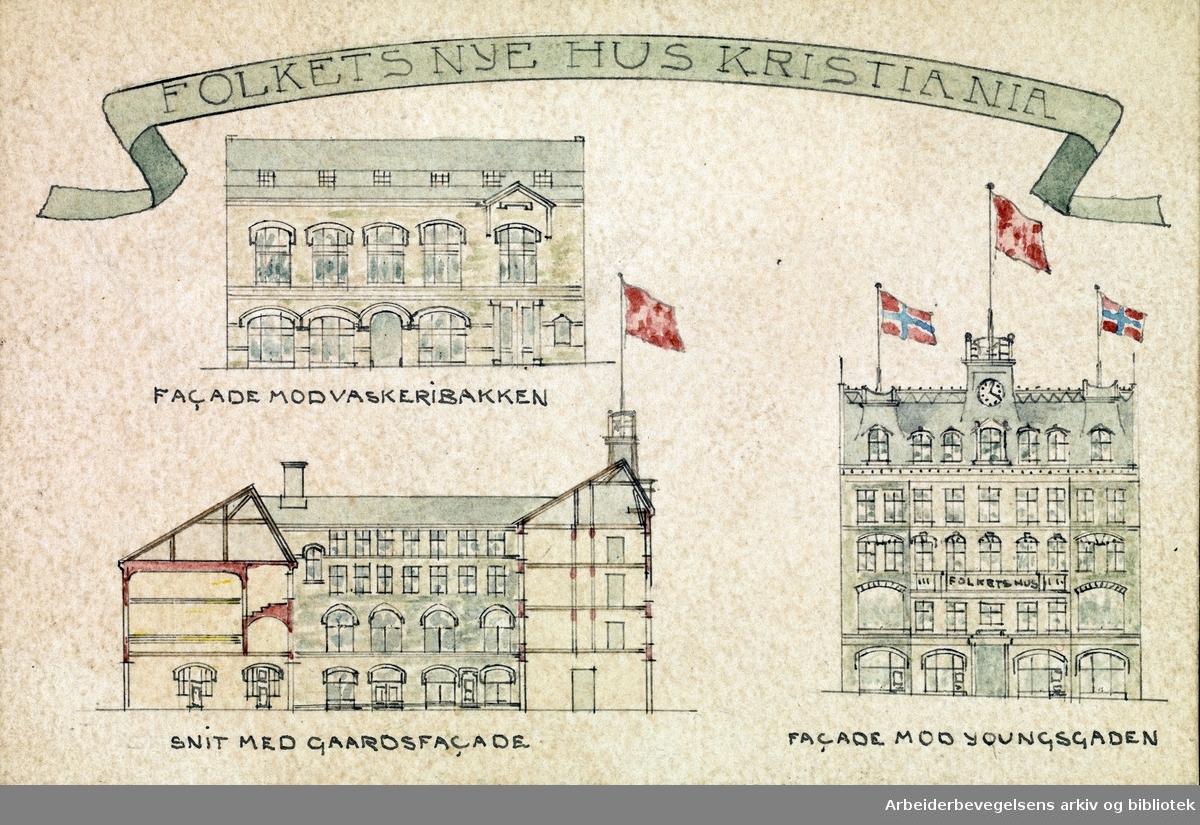 """Trekkpapir med reklame (arkitekttegninger) for Folkets Hus. """"Folkets Nye Hus Kristiania"""". Tegningene viser: """"Facade mod Vaskeribakken"""", """"Snit med gaardsfacade"""" og """"Facade mod Youngsgaden"""". Mulig 1907."""