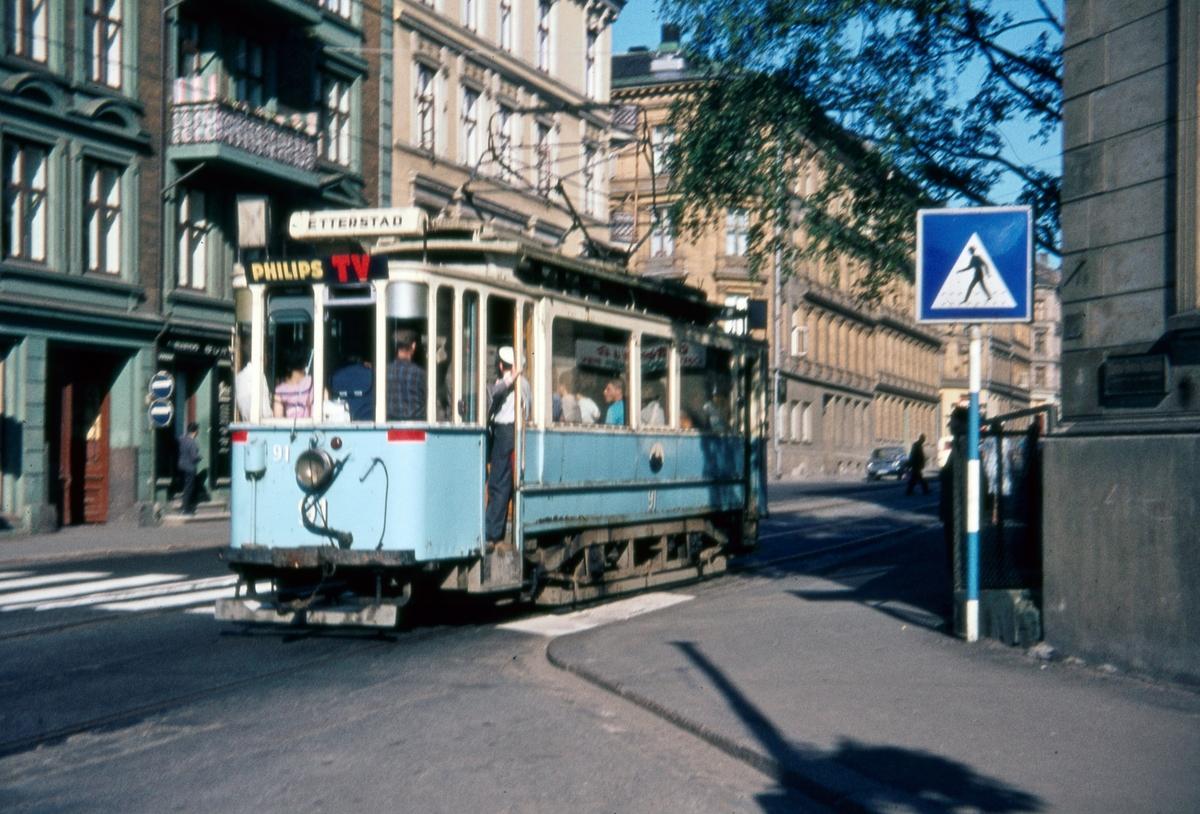 Sporvogn 91 på rute 6 ved krysset Schweigaards gate/Klostergata. Dette var siste dag de klassiske toakslede Kristiania-trikkene gikk i ordinær rutetrafikk i Oslo.