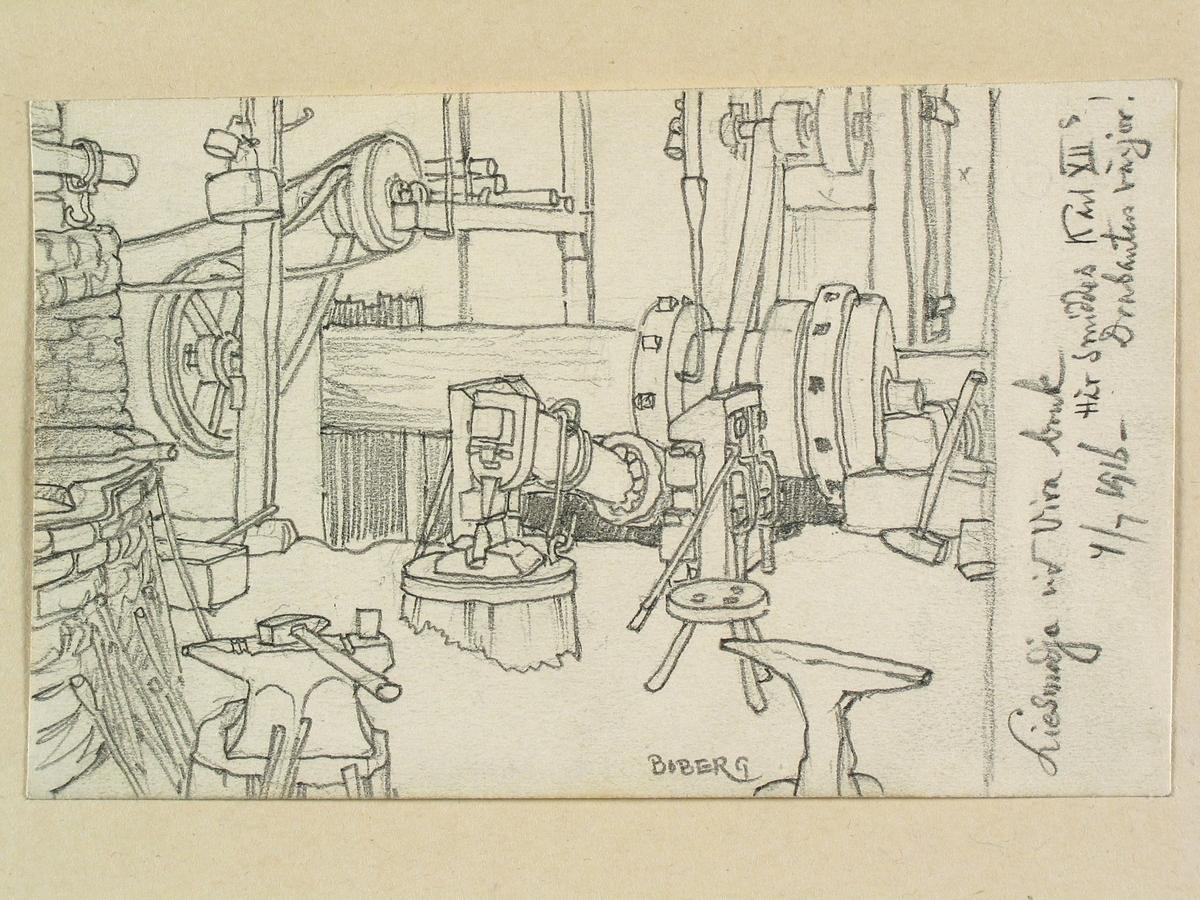 """Teckning av Ferdinand Boberg. Uppland, Åkers skeppslag, Kulla sn., Vira bruk, (Kommentar från monteringsunderlag: """"Nej! Smedjan byggdes på 1840 talet./ AV"""")"""