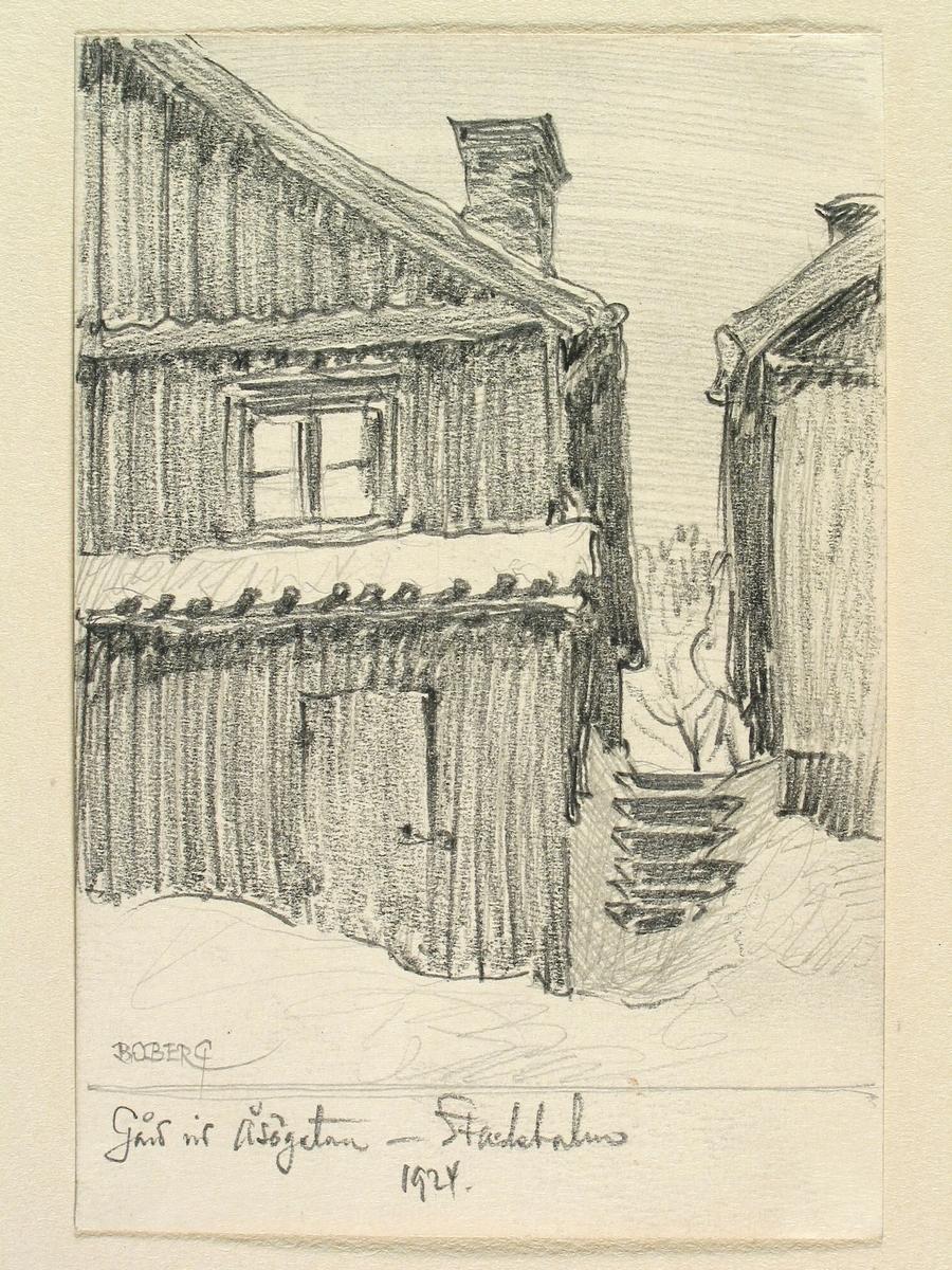 Stockholm, Södermalm, gård vid Åsögatan.Teckning av Ferdinand Boberg.