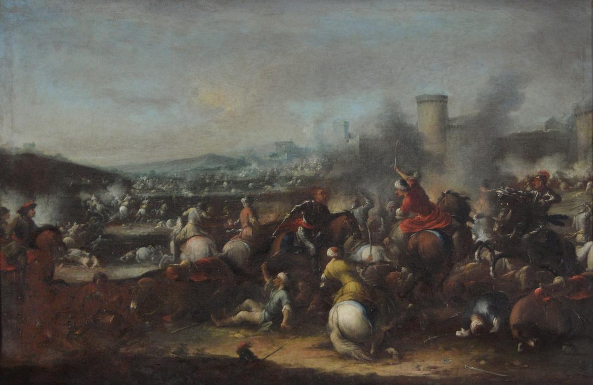 Dal med kavalerislag mellom europeiske og ottomanske (tyrkiske) krigere. Til høyere røk og et festningsanlegg eller en bymur bak røken.