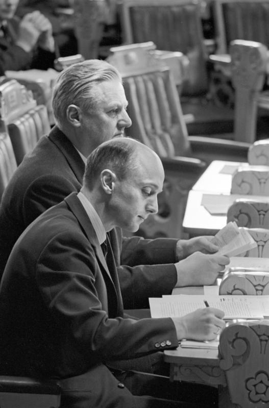 Debatt i Stortinget. Kåre Willoch og John Lyng, våren 1967.