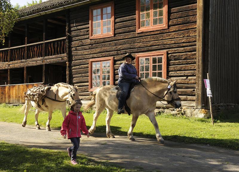Lita jente som går ved siden av et tospann av hester den den førte blir ridd av en voksen mann og den bakerste bærer kløv. Gammelt, toetasjers tømmerhus i bakgrunnen. (Foto/Photo)