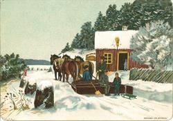 Malt vinterlandskap med brunt hus, tre og gjerder. Brei, fla