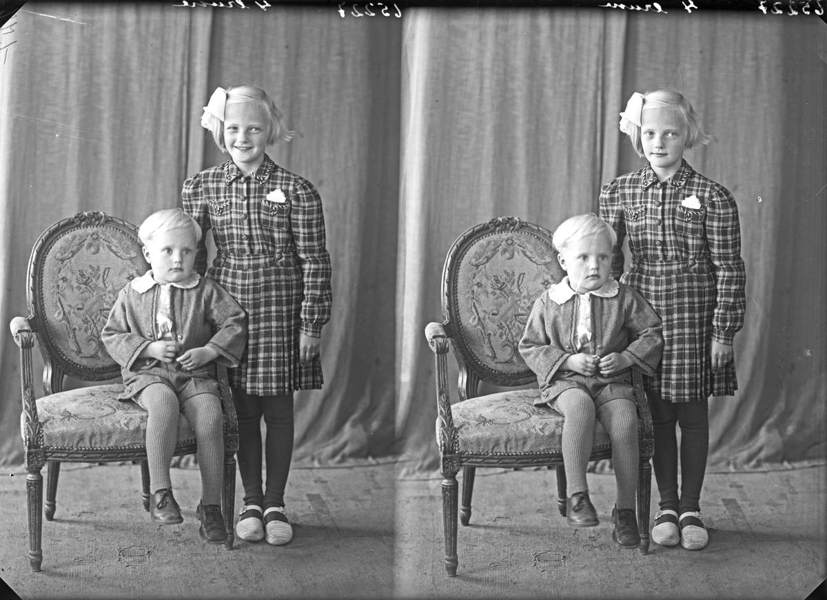 Portrett. To barn. En ung gutt sittende på en stol  og en pike stående ved siden av. Bestillt av Reidar Rasmussen. Skorpen. Onarheim.