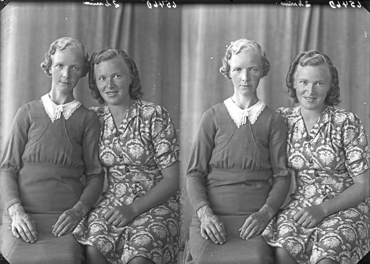 Portrett. To unge kvinner. Bestillt av Fru Hanna Hinderli. Hinderli. Sveio.