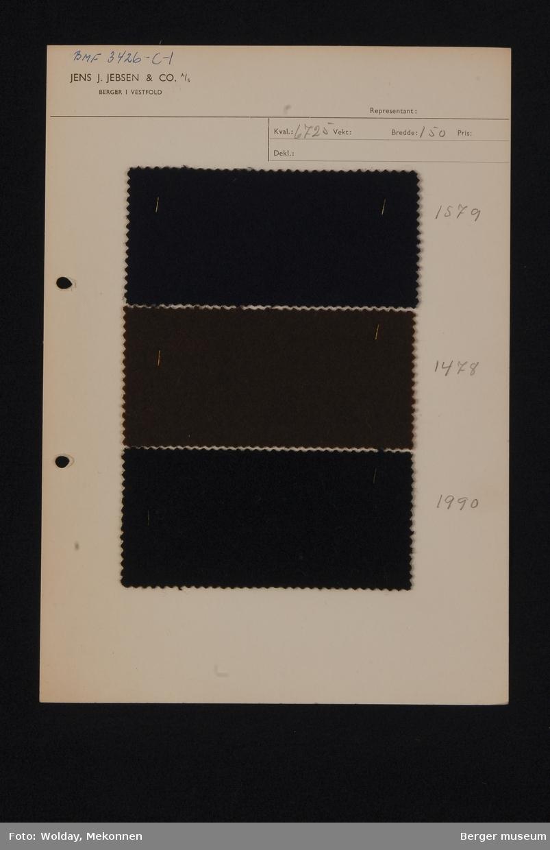 Ark med 3 prøver Loden Kvalitet 6725 Stykkfarget