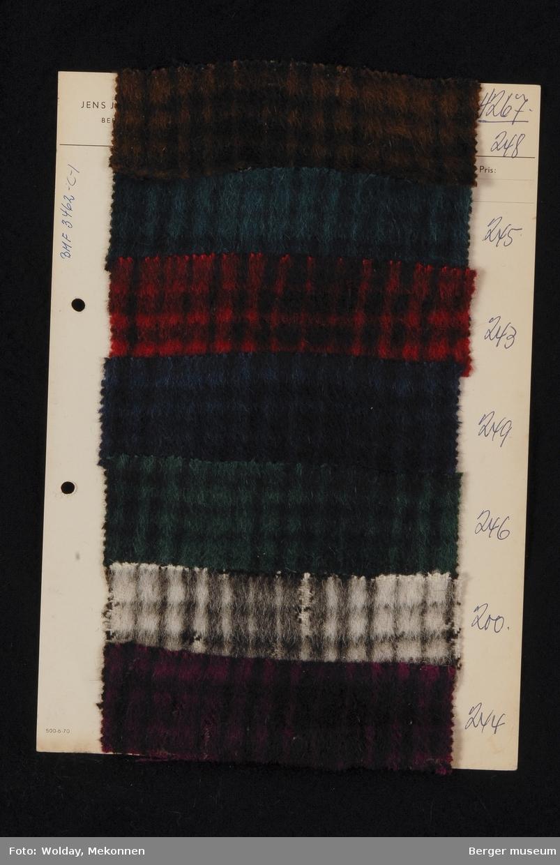 Ark med 7 små prøver L'Lama kåpe Kvalitet 4267 Stykkfarget