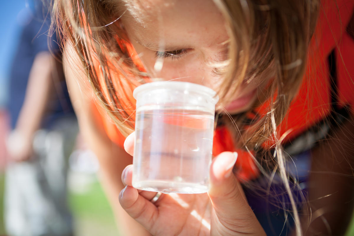 Foto av barn som ser i lupeboks (Foto/Photo)