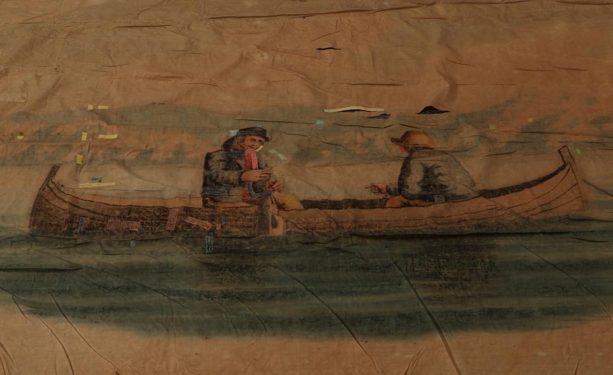 Maleri på flagg av to fiskere sittende i en båt og fisker. Den ene har fått fisk.