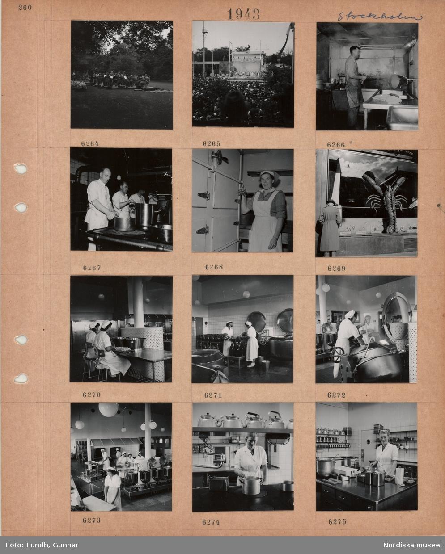 Motiv: Stockholm, orkester i park, uppträdande på Gröna Lunds utescen, stor publik, en man gör rent kokkärl(?) med en slang, tre män lagar mat i storkök, kvinna i vitt förkläde med nyckelknippa vid låst skåp med luckor, skyltfönster med stor hummerfigur, kvinnor i skyddskläder skär upp livsmedel i storkök, kvinnor fyller på stora flaskor, kokkärl, behållare, spis.