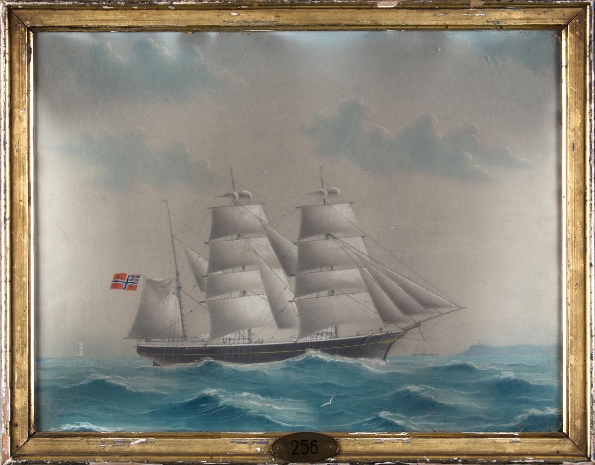 Skipsportrett av bark BISKOP BRUN. I bakgrunnen ses de to fyrtårnene ved South Foreland i Kent, et dampskip og en fullrigger.
