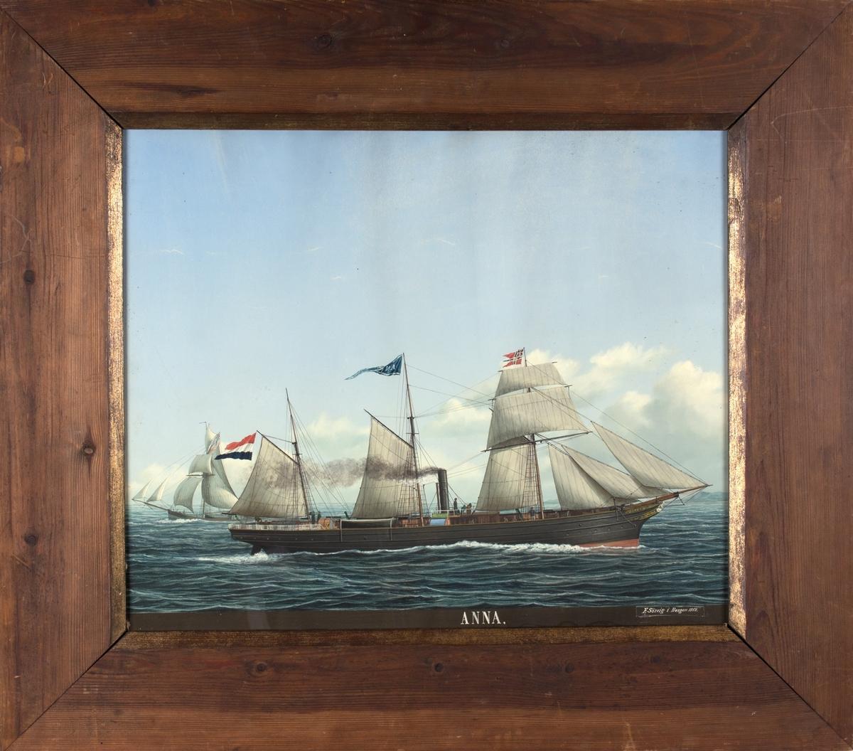 Skipsportrett av DS ANNA hjemmehørende i Nederland. Skipet har klipperbaug og seilføring som skonnertskip. Fører det nederlandske flagg akter og på fortoppen norsk postflagg.