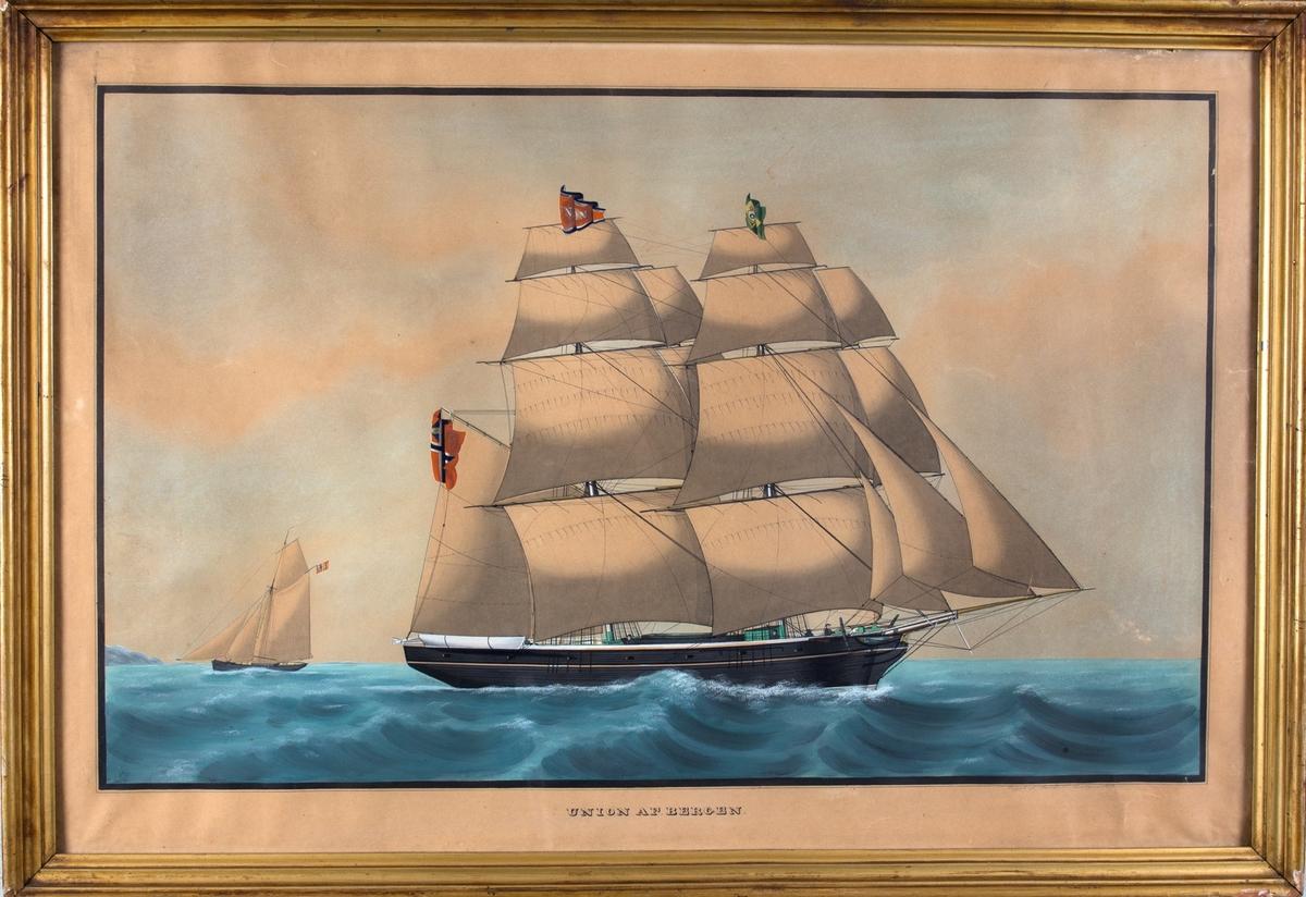 Skipsportrett av brigg UNION i åpen sjø. På fortoppen føres brasiliansk flagg (fra keisertiden), og unionsflagg under gaflen. En mindre slup i bakgrunnen.