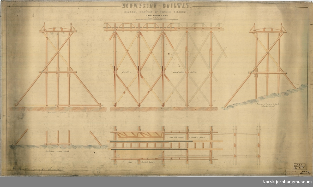 Norwegian Railway. General drawing of Timber Viaduc
