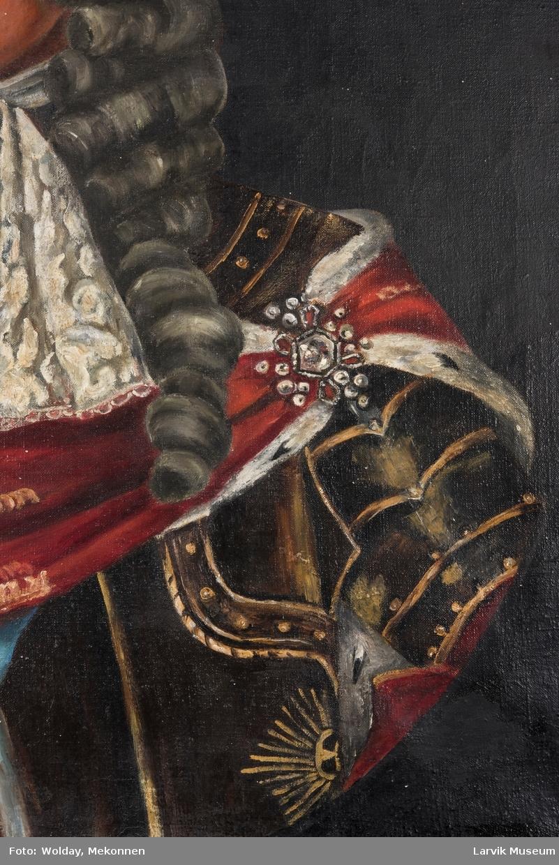Christian V i brun drakt og rød kappe