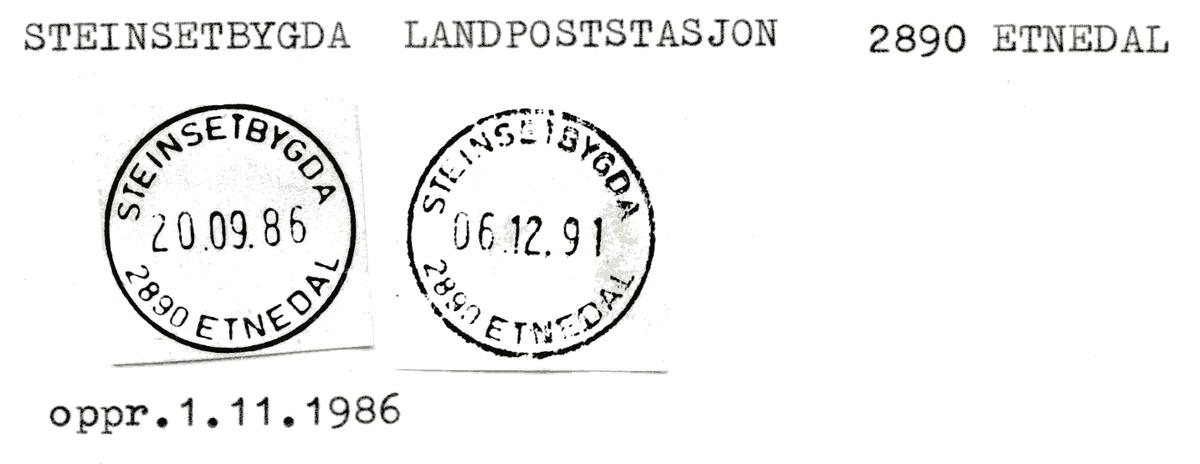 Stempelkatalog  Steinsetbygda landpoststasjon, Etnedal kommune, Oppland