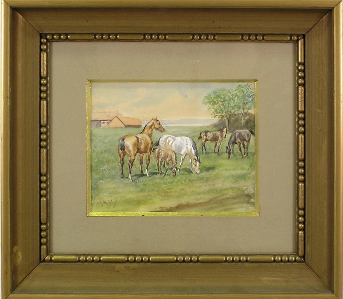 """Enl. Liggaren: """"Akvarell, betande hästar. Signerad: J. Arsenius, 95. Inramad i mörk guldram. Storlek: 52.2 x 48 cm."""""""