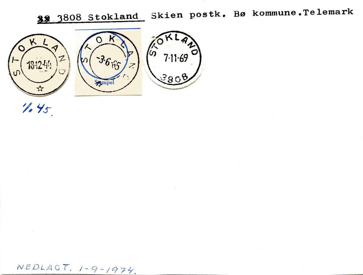 Stempelkatalog 3808 Stokland, Bø, Telemark